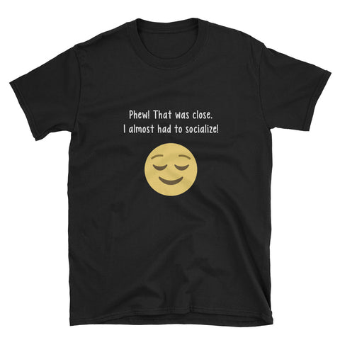 """Phew! That Was Close."" Short-Sleeve Unisex T-Shirt (Black/Navy)"