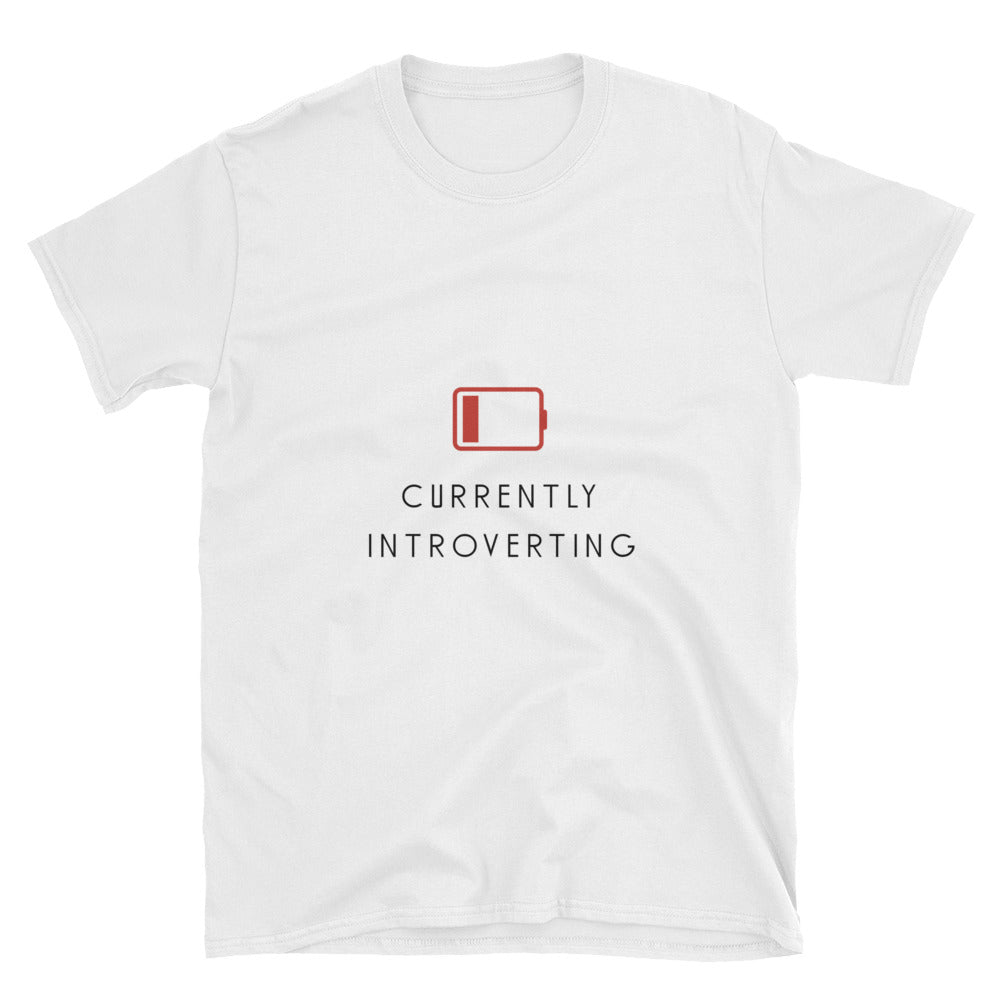 """Currently Introverting"" Short-Sleeve Unisex T-Shirt (White)"