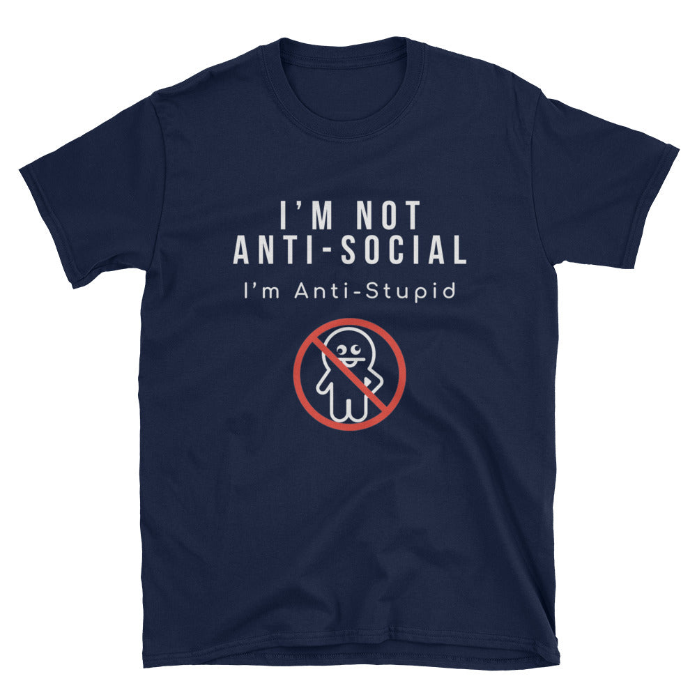 """I Am Not Anti-Social"" Short-Sleeve Unisex T-Shirt (Black/Navy)"