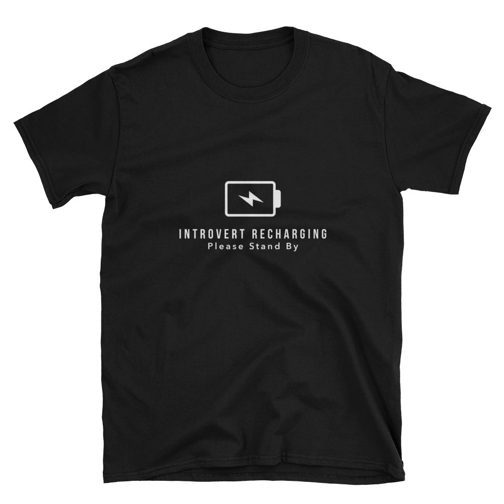 """Introvert Recharging"" Short-Sleeve Unisex T-Shirt (Black/Navy)"