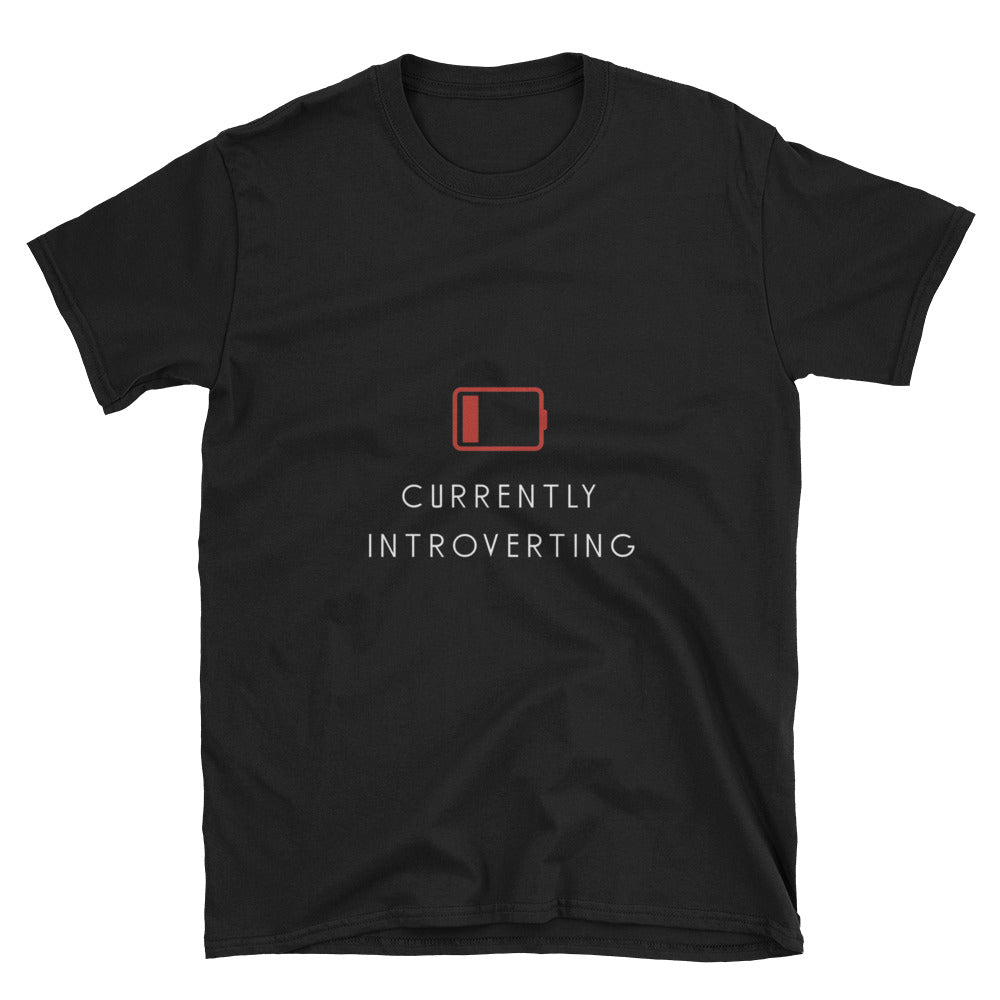 """Currently Introverting"" Short-Sleeve Unisex T-Shirt (Black/Navy)"