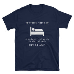 """Newton's First Law"" Short-Sleeve Unisex T-Shirt (Black/Navy)"