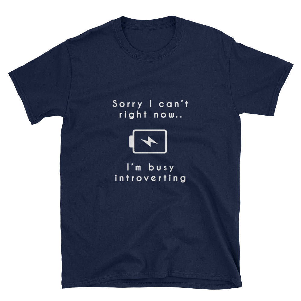"""Sorry I Can't Right Now"" Short-Sleeve Unisex T-Shirt (Black/Navy)"