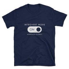 """Introvert Mode"" Short-Sleeve Unisex T-Shirt (Black/Navy)"