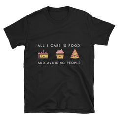 """All I Care About Is Food"" Short-Sleeve Unisex T-Shirt (Black/Navy)"