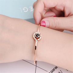 "Unique Rose Gold Charm Bracelets--100 Languages Says""I Love You"""