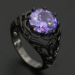 Various Black Gold Plated Rings (Orange, blue, purple, red and rainbow)