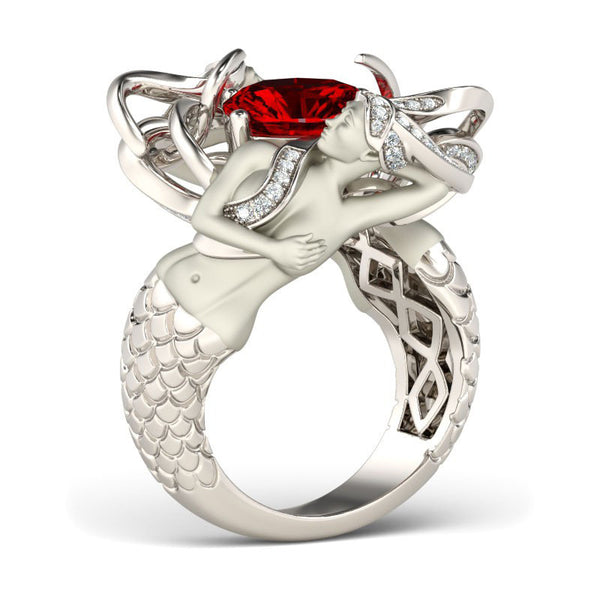 Rhodium & Silver Plated Charming Mermaid Ring