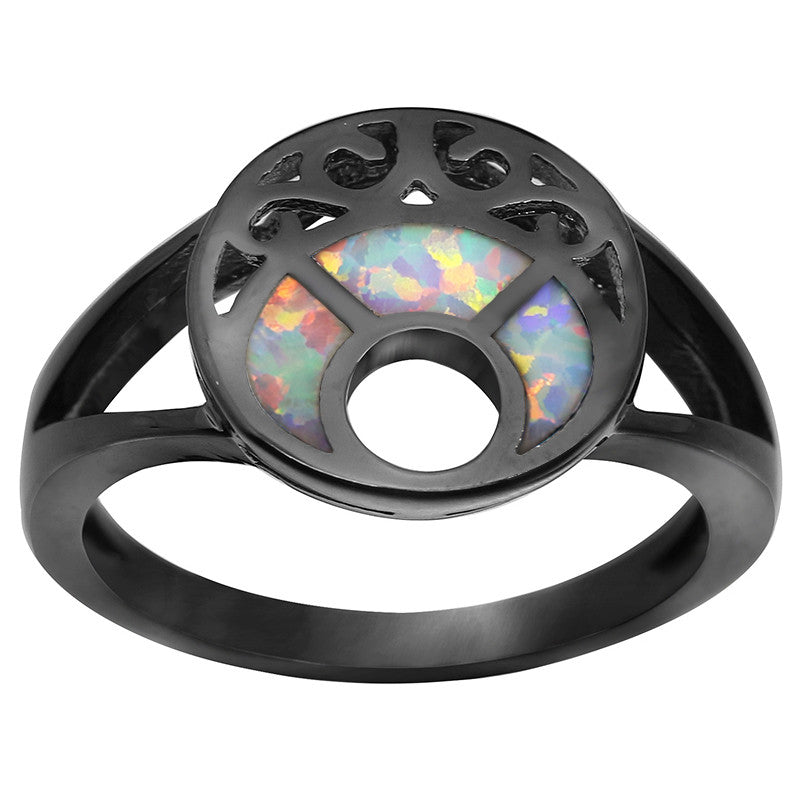 Black Gold-Plated Blue Fire Moon Opal Ring
