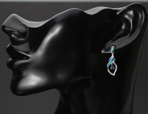 Precious Blue Opal Earrings For Women