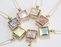 Square Glass Flower Pendant