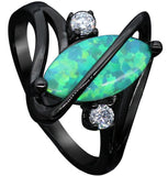 Black Gold Plated Crossed Marquise Opal Ring