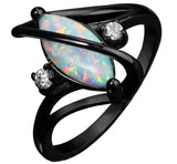 Black Gold-Plated Crossed Marquise Opal Ring