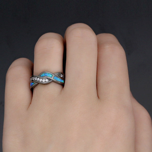 Introvert Secret Identity Ring - Vintage Black Gold Plated Wave Blue Opal Ring