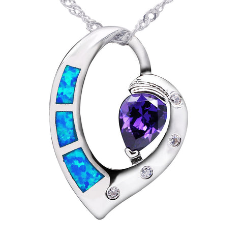 Heart of Sea Silver Plated Blue Opal Pendant