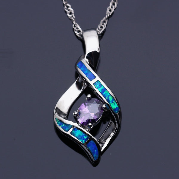 Elegant Silver Plated Blue Opal Pendant