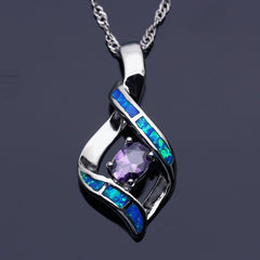 Elegant Silver-Plated Blue Opal Pendant