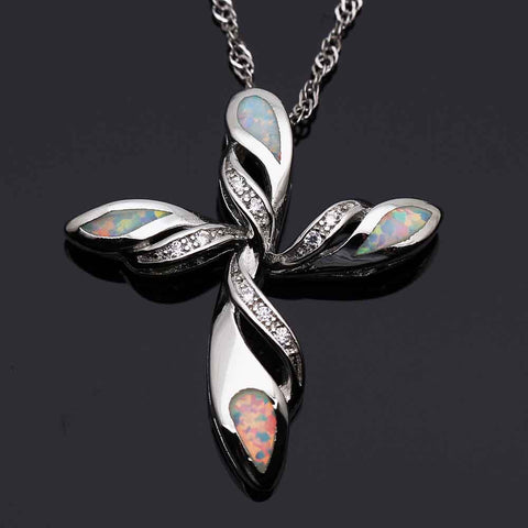 Cross and Angel Wings Silver Plated Fire Opal Pendant