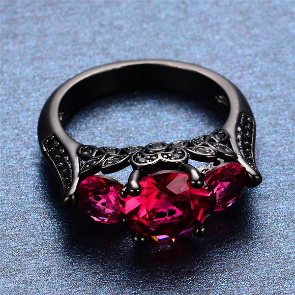 Black Gold Filled Hot Pink Ring Version 3