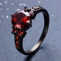 New Vintage Red Garnet Black Gold Filled Ring