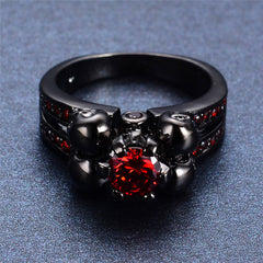 Unisex Skull Ring With Red Stone