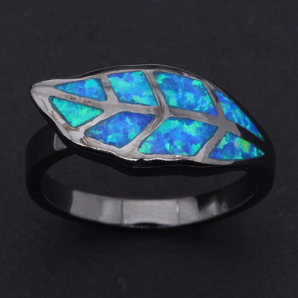 Leaf Shape Blue Opal Ring