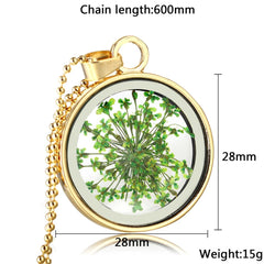 Round Pressed Flowers Pendants