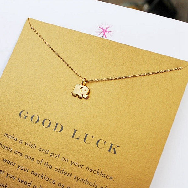 Gold Plated Lucky Elephant Necklace and Pendant