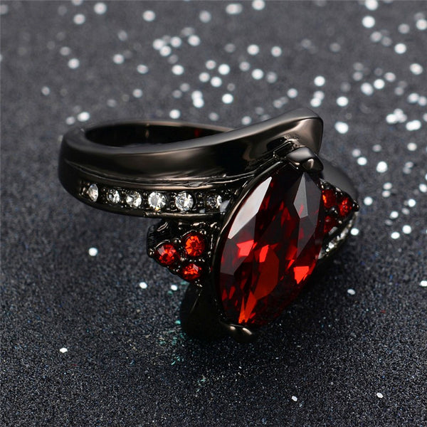 Luxury Marquise Cut Red Ring Red Garnet