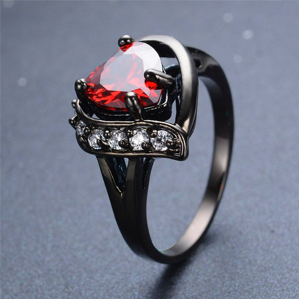 Charming Heart Cut Red Ring Black Gold Filled