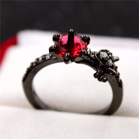 Black Dragon Rhinestone Ring