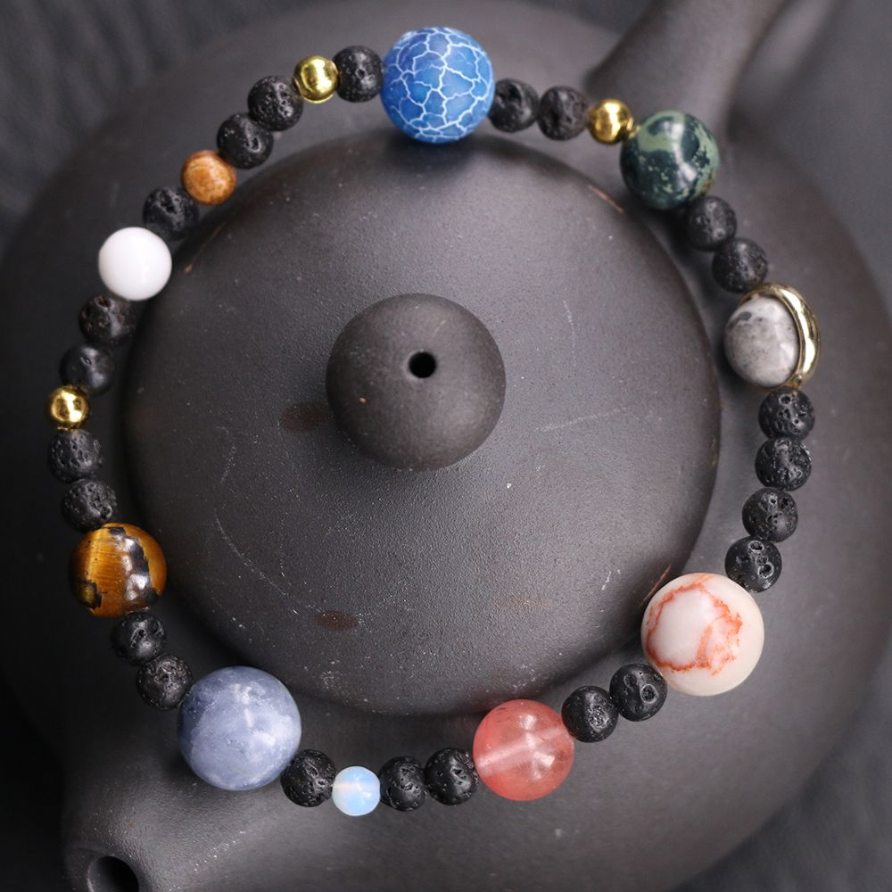 Solar System 9 Planets Universe Natural Stone Beads