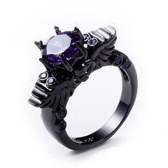 New Black Gold Filled Amethyst Ring Vintage Skull Shaped