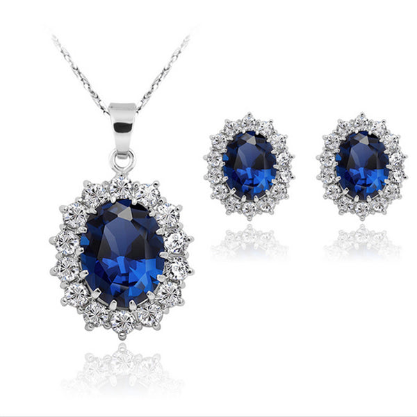 Silver Blue Crystal Jewelry Sets (Necklace & Earrings)