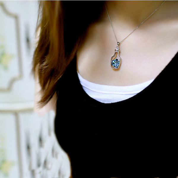 Blue Heart Crystal Necklace Pendant
