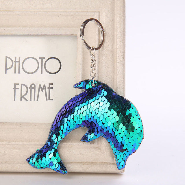Cute Glitter Sequins Keychain - Dolphin