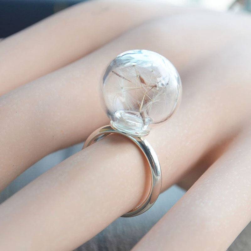 Resizable Dandelion Wish Seed Ring