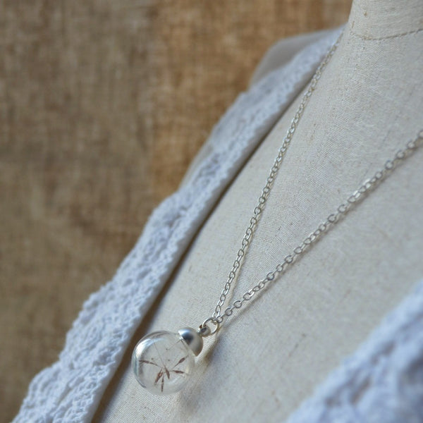 Real Dandelion Seed Wish Flower Charm Pendant Necklace