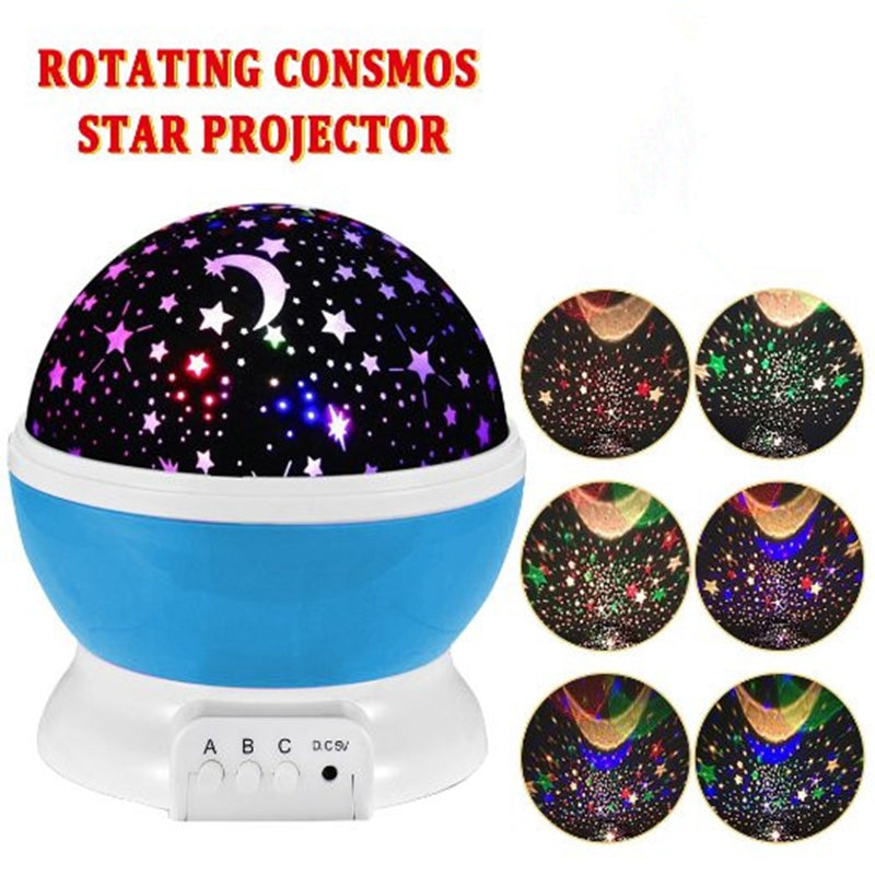 Room Novelty Night Light Projector Lamp Rotary Flashing Starry Star Moon Sky Star Projector Kids Children Baby Abajur Infantil