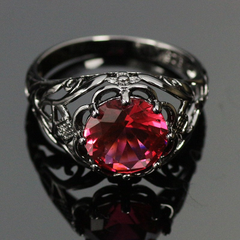 Mysterious Black Gold Plated Ruby Ring