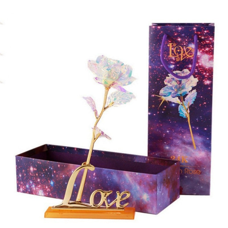 24K Foil Plated Gold Rose with Love Stand for Base