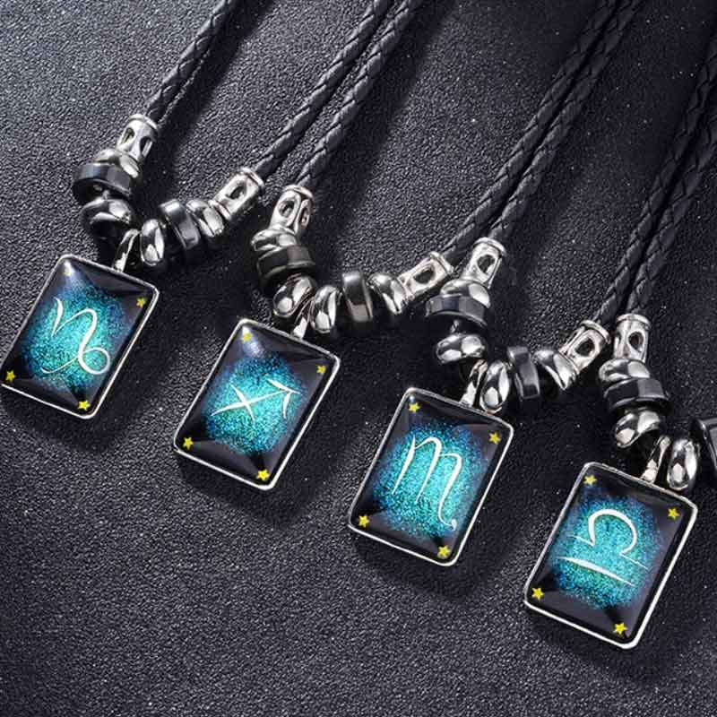 Custom Zodiac Luminous Leather Necklace