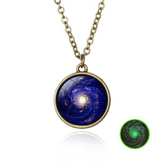 Elegant Handmade Glow In The Dark Galaxy Pendant