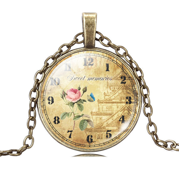 Various Vintage Clock Necklaces