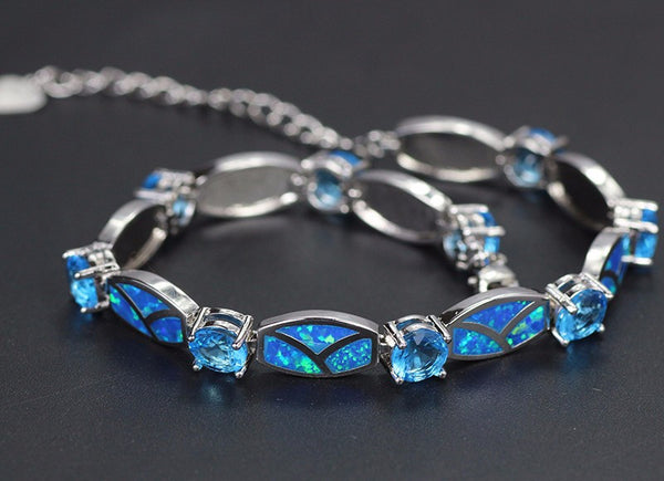 Godly Blue Opal Gem Bracelet - Silver Plated