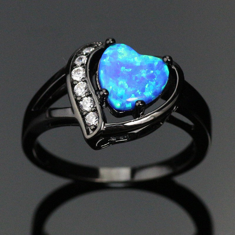 Fire Heart Love Heart Gold-Plated Opal Ring