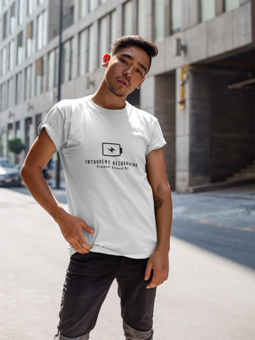 """Introvert Recharging"" Short-Sleeve Unisex T-Shirt (White)"