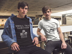 """Small Talk Survivor"" Short-Sleeve Unisex T-Shirt (White)"