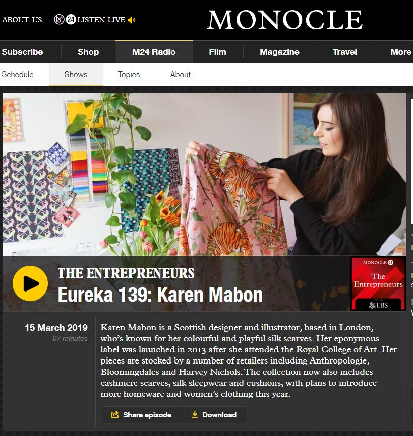MONOCLE: THE ENTREPRENEURS PODCAST: Karen Mabon