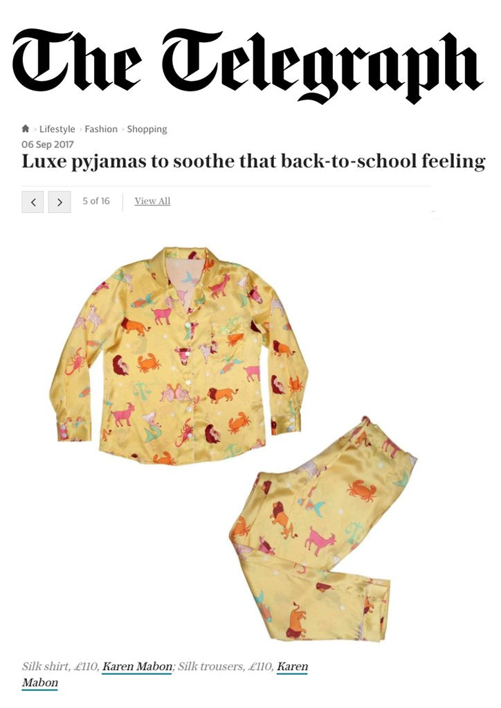 The Telegraph: Luxe Pyjamas to soothe that back-to-school feeling